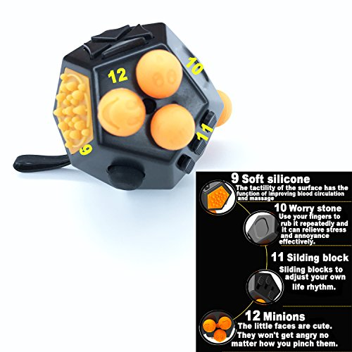 Fidget Toy Cube Relieves Stress and Anxiety for Children and Adults (Dice II - Black) -