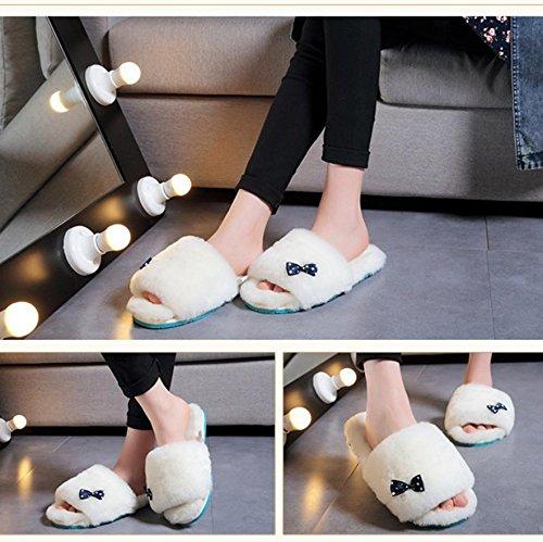 mhgao Ladies Casual zapatillas de lana en el interior para mantener caliente en otoño y invierno ante zapatillas, 4, 39