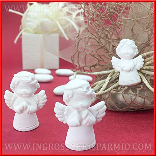 12 gessetti bianchi a forma di angioletti assortiti per decorazioni natalizie, applicazioni per regali di natale originali o per lavoretti fai da te