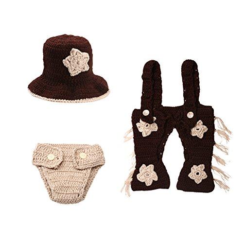 Domybest 3 stücke Neugeborenen Baby Infant Crochet Gestrickte Cowboy Kostüm Fotografie Requisiten (0-2 Mt)