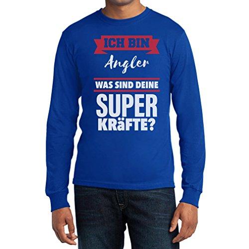 Geschenke für Angler -Ich bin Angler Was sind deine Superkräfte? Langarm T-Shirt Blau