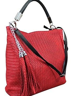 Made in Italy Schultertasche Damen Bag Shopper Leder Vintage geflochten Rot