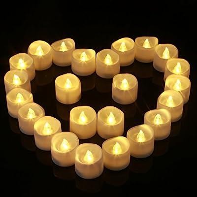 Homemory 24 led flammenlose kerzen, 3.8cm elektrische flackernde batteriebetriebene teelichter, led votivkerzen warme weiße von Global Selection bei Du und dein Garten