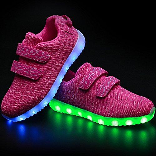 DorkasDE LED Schuhe Leuchtend Schuh USB Aufladen Sneakers Atmungsaktiv und bequem Turnschuhe brillant Stil Schuhe für Kinder Jungen Mädchen Rosa