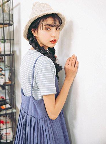 Azbro Women's Classic Short Sleeve Striped Pullover Tee Light Blue