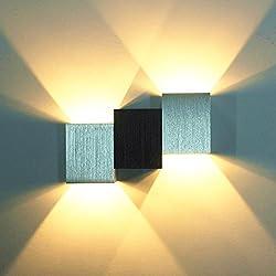 Louvra Apliques de Pared Lámpara de Pared en Moda de Puro Aluminio 2 LED 6W, Iluminación de Pasillo, Entrada, Dormitorio, Decoración Hogar, Blanco Cálido