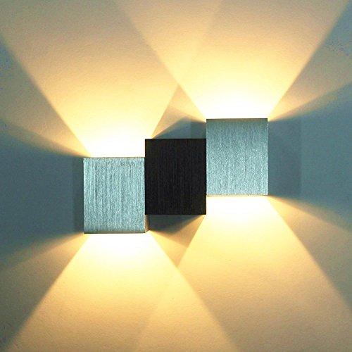Glighone Applique Murale LED 6W Intérieur Moderne Carré Up Down en Aluminium Eclairage Désigne Original pour Chambre Bureau Couloir Salon Hôtel Restaurant Bar Blanc Chaud