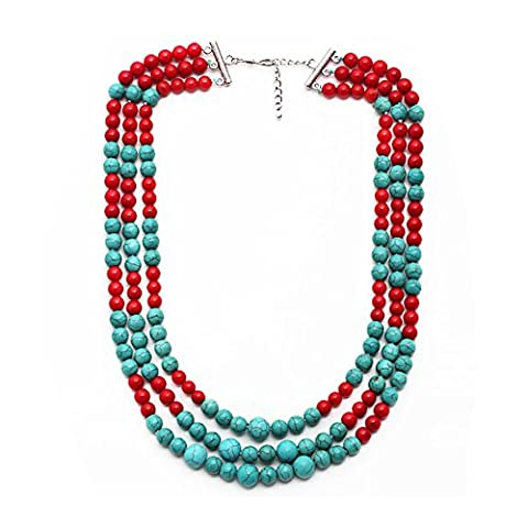 TreasureBay Beautiful Multi-strand Red Coral and Turquoise Gemstone Necklace 48cm with Extender - Presented in a Beautiful Jewellery Gift Box