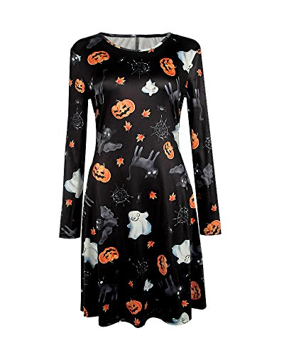 DIOSA Halloween Kleid Das Beste für das Halloween Party Kleid Womens Printed Long Sleeve Flared Kleid Halloween Swing (Besten Womens Halloween Kostüme)