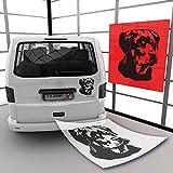 Rottweiler Autoaufkleber mit Wunschname Rassehunde Wandaufkleber Auto | A00642 29 - schwarz matt 23 cm (B) x 20 cm (H)