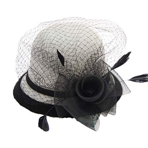 GOUNURE Frauen Eimer Hüte Cloche Derby Bowler Cap Damenmode Fedora Hut Pillbox Hut Sonnenhut mit Spitze Blume Feder -