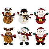 Mcgtadyxm Portaposate Costume da Babbo Natale, Renne Pupazzo di Neve, Borsa per Forchetta e Coltello Babbo Natale Vestito di Tasche Porta Posate, Decorazione per Tavolo (2019 STYLE)