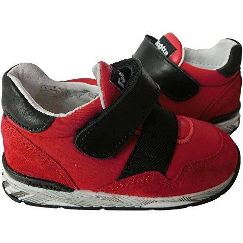 Scarpe bimbo unisex 1098 - Sneaker Falcotto by Naturino Darrin VL Velour/S, Rosso-Nero (24)