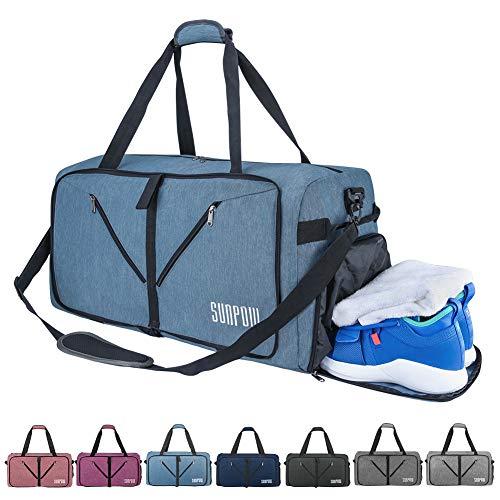2 Grosse Tasche Weekender (SUNPOW Faltbare Reisetasche, 85L Packbare Sporttasche mit Schuhfach Gym Fitness Tasche für Herren and Frauen Wochenend Handgepäck Tasche Reisegepäck mit Schulterriemen - 100% Robust)