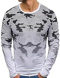 LuckyGirls Camisetas Estampado de Camuflaje Camisa Casual Poleras Polo Moda Sudaderas Chándales Mangas Largas de los