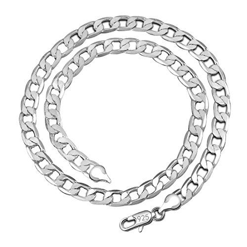 Kangqifen Schmuck Damen Herren Halskette 925 Silber Kette,Breite 4 mm - Länge frei wählbar(45cm)