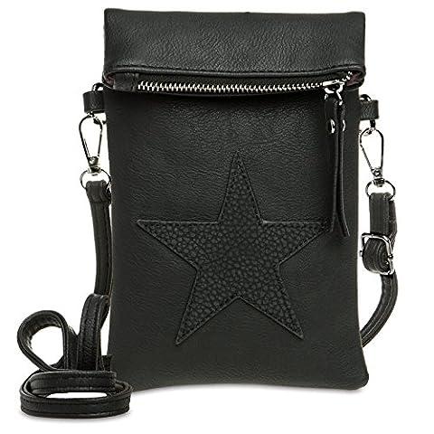 CASPAR TS1027 kleine Damen Clutch Tasche Umhängetasche Handytasche mit aufgenähtem Stern, Farbe:schwarz;Größe:One Size