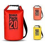 BWei Dry Bag,20L Wasserdicht Taschen/Packsack mit Lang Verstellbarem Schultergurt für Boot und Kajak, Angeln, Rafting, Schwimmen, Camping und Snowboarden-Rot