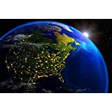 América de noche vista desde el universo mural panoramico XXL póster globo de GREAT ART 140 x 100 cm