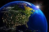GREAT ART Amerika bei Nacht Ausblick aus dem Weltall Wanddekoration - Wandbild Kontinent Motiv XXL Poster (140 x 100 cm)