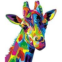 Pintura por número Kit, DIY Pintura al óleo Dibujo Colorido Jirafa Lona con cepillos decoración Decoraciones Regalos - 16 * 20 Pulgadas sin Marco