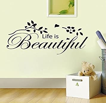 Homemay PVC Wandtattoo Aufkleber Englisch Life Is Beautiful Natur Style Wohnzimmer Home Decorwallpaper305 Cm X 61 Orange 305cm 61cm Amazonde