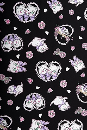 Hell Bunny AMELIA Kitten Hearts Cat Mini NECKHOLDER Kleid Rockabilly Schwarz mit Motiven