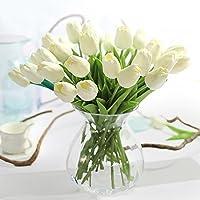 JUSTOYOU tallo único de tulipán hecho de látex con sensación real al tacto, de 33cm de largo, flores artificiales decorativas para ramos de boda, hogar, hotel, jardín, eventos navideños, regalo, tela, White-10, 10 unidades