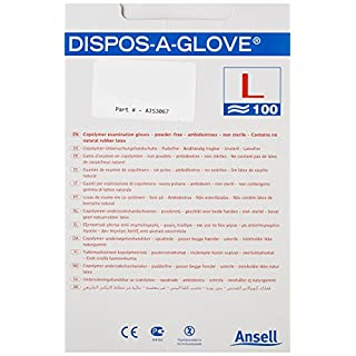 ANSELL DISPOS-A-GLOVE AJS3067 ANSELL DISPOS-A-GLOVE N/S SIZE 8-8.5 (Pack of 100)
