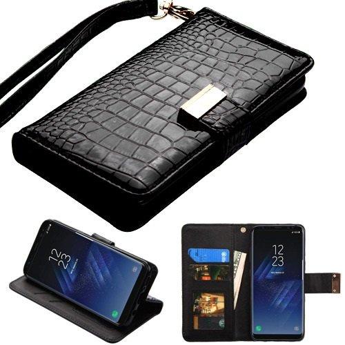 Fall + Wrap + Gap PU Leder Portemonnaie Kupplung Passt Samsung Galaxy Note 8MYBAT Schwarz Crocodile-Embossed MyJacket Wallet - Samsung Metro Handys Pcs
