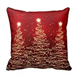 Icndpshorts Bedding Pillow Case Home Decoration Square Decorative Cushion Cover Pillowcase LINKWELL Inches Elegant Sparkling Trees Red Throw Pillowcases