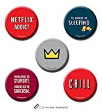 #9: Set of 5 Cool Pin Badge + Fridge Magnet (2 in 1) by PrintOctopus