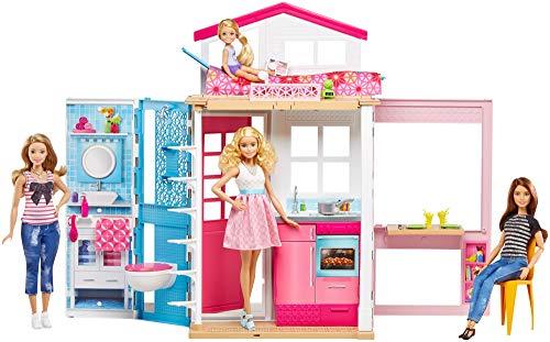 Barbie Casa dos pisos transportable, casa de muñecas...