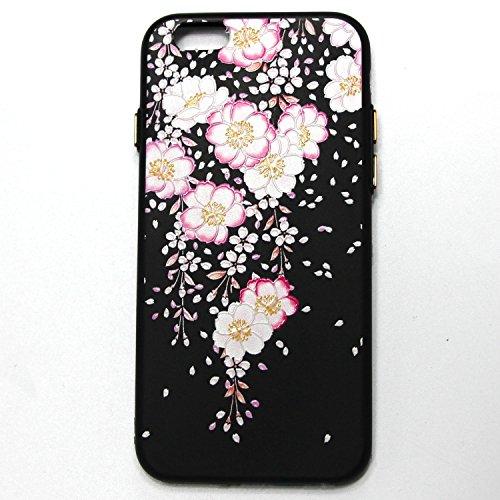 Linvei iPhone 6 Etui,iPhone 6S Coque - Conception de motif coloré Coque en Pu Cuir Portefeuille Etui Flip Cover Case Pour iPhone 6/6S-Modèle de visage de chat blanc Design floral rose rose