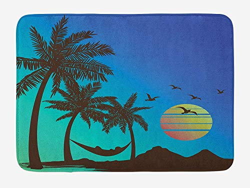 Beach Hammock Bath Mat, Tropical Island Vacation Theme Retro Style Sunset Palm Trees Silhouette Print, Plush Bathroom Decor Mat with Non Slip Backing, 23.6 W X 15.7 W Inches, Multicolor (Rv-monster-truck)