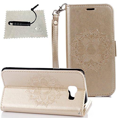 Tasche Luxus Hülle für Samsung Galaxy A5 (2016) A510 Leder Hülle,Handytasche SchutzHülle Brieftasche Wallet Flip für Samsung Galaxy A5 (2016) A510, TOCASO Leder Case Cover Glitter Strass Bling Leder T Golden