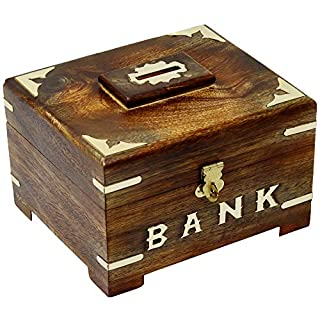 SKAVIJ Wooden Piggy Bank Coin Handmade Savings Money Bank Box Toy with Latch for Kids and Adults Gifts