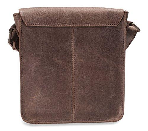Brunhide # 150-300 - Borsa satchel con tracolla piccola - vera pelle di bufalo Coffee