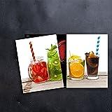 DAMU Herdabdeckplatten 2 x 40 x 52 cm Ceranfeldabdeckung Schutz Herdblende 80x52 2teilig Glas Spritzschutz Abdeckplatte Glasplatte Herd Ceranfeld Abdeckung Schneidebrett Früchte Kiwi