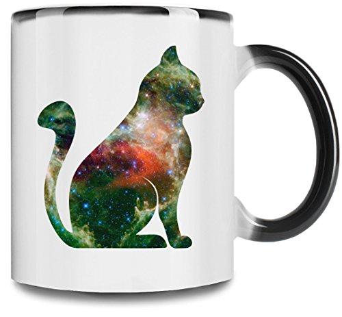 Space Cat 11oz taza de cambio de color completo