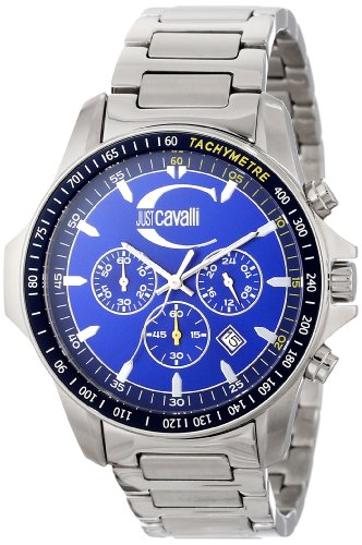 Just Cavalli Unisex Watch R7273693035 In Collection Actually with Chronograph, Blue Dial and Stainless Steel Bracelet