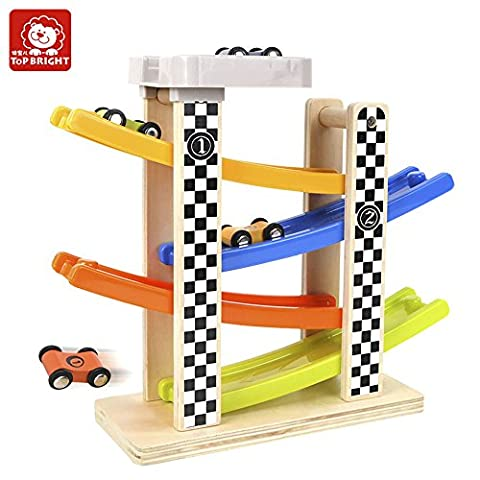 TOP BRIGHT Wooden Ramp Race Track Switchback Ladder Gliding Toy with 4 Cars (Kid Over 18 Months)