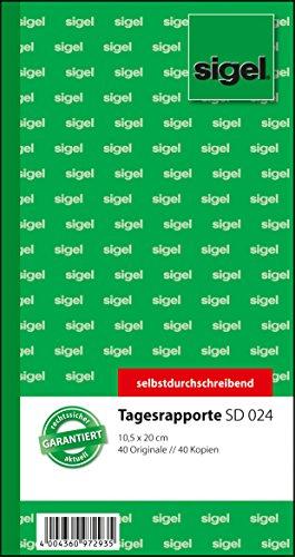 Preisvergleich Produktbild Sigel SD024 Tagesrapport 10,5x20 cm, 2x40 Blatt, selbstdurchschreibend, 1 Stück
