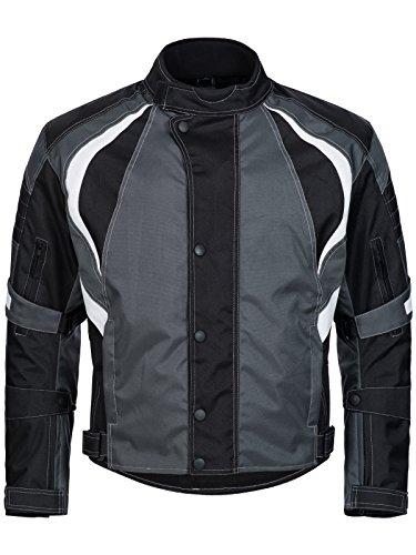 Jacke Weiße Wasserdichte Herren (Limitless Herren Motorradjacke mit Protektoren - Textil Motorrad Jacke aus Cordura - wasserdicht winddicht Schwarz Grau Weiß 780 Gr. XXL)