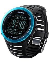 BEETEST Multifunción Digital 50 m pesca impermeable meteorológico barómetro altímetro termómetro inteligente Smartwatch reloj de pulsera con luz de fondo Negro