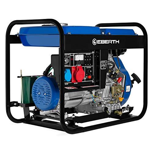 Eberth 5000 watt generatore diesel (motore diesel 10 hp, 4 tempi, trifase, 1x 400v, 1x 230v, 1x 12v, avviamento elettrico)