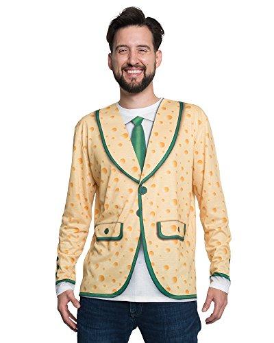 FauxReal Herren Cheese Tuxedo Long Sleeve Tee T-Shirt, Multi, Mittel