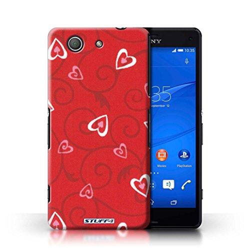 Kobalt® Imprimé Etui / Coque pour Sony Xperia Z3 Compact / Rose/Violet conception / Série Coeur Vigne Motif Rouge/Rose