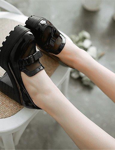 WSS 2016 Chaussures Femme-Bureau & Travail / Habillé / Décontracté / Soirée & Evénement-Noir / Blanc / Amande-Gros Talon-Talons-Chaussures à Talons black-us5.5 / eu36 / uk3.5 / cn35