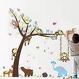 SUPWALS Wandtattoos Klettertier Baum Tier Vogel Wandaufkleber Kinderzimmer Kindergarten Tapete Schranktür Dekorative Shop Wandtattoo
